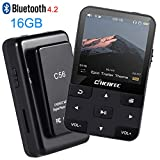 CCHKFEI 16 GB Clip MP3-Player mit Bluetooth 1,5 Zoll Display, tragbarer Sport Mini verlustfreier Musik-Player mit FM Radio/Sprachaufnahme zum Laufen (unterstützt bis zu 128 GB)