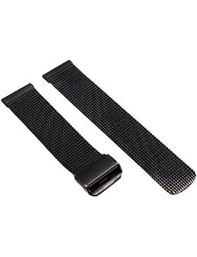 20mm Herren Damen Shwarz Stahl Edelstahl Quarz Wrist Uhren-Armband Uhrenarmbänder Uhrband Watch Band Watch Strap...