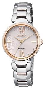 Citizen EM0024-51W - Reloj analógico de cuarzo para mujer, correa de acero inoxidable multicolor de Citizen