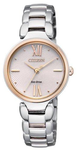 Citizen EM0024-51W – Reloj analógico de cuarzo para mujer, correa de acero inoxidable multicolor