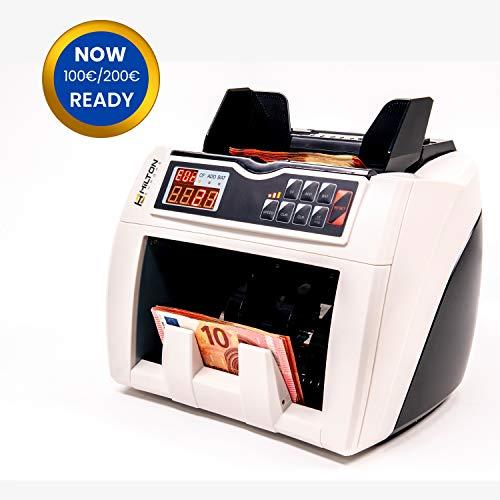 HILTON EUROPE HE-4000 Contador de Billetes con conteo automático de número de billetes con detección de billetes falsos 3 velocidades de conteo actualizado a los nuevos billetes de 100 y 200 €