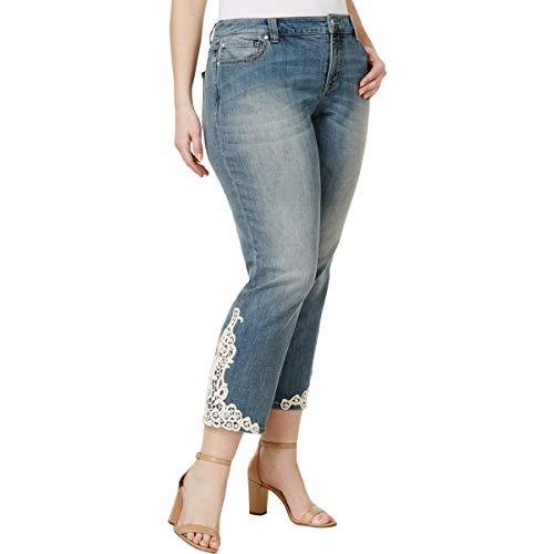 Inc International Concepts Plus Size Lace-AppliquÉ Indigo Wash Cropped Jeans -