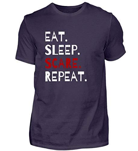 Shirtee Eat Sleep Scare Repeat - Diabolischer Spaß am Erschrecken und Fürchten zu Halloween - Herren Premiumshirt