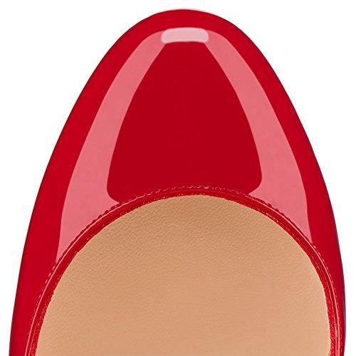 EKS Damen Runde Zehen Lack Stilettos Plateau Pumps High Heels Schuhe EU 35-46 Rot