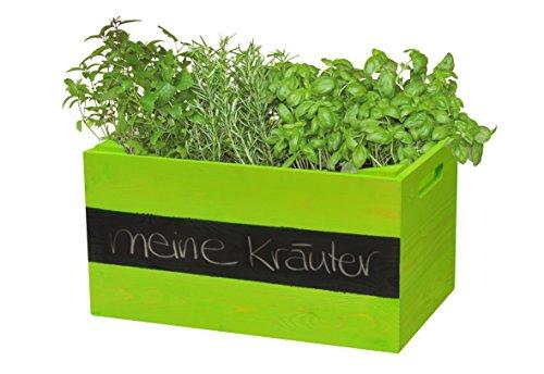 """WAGNER GreenFAMILY – Mobiles Pflanzenbeet """"KräuterBOX"""" – Kiefer massiv, FSC, grün, 39 x 24 x 20 cm, 4 Rollen, Beschriftungsfeld, Tragkraft 50 kg – 25022001"""
