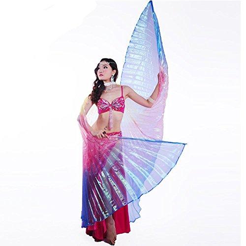 Wgwioo Dance accessories Erwachsener Bauchtanz Engel isis flügel 360 Grad flexibel volles exotisches kostüm mit stöcken professionelle aufführungen Farbverlauf Farbe transparent Colorful f
