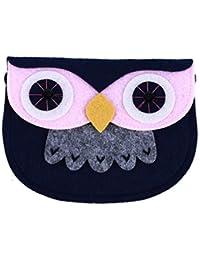 Kingus Cute Owl Pattern - Bolso Bandolera de vellón para niños, Monedero, Tarjetero Azul