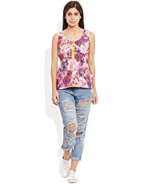 URBAN KOLOURS Women's Cotton Printed Short Top Size:- 38 / Xl (Pink)