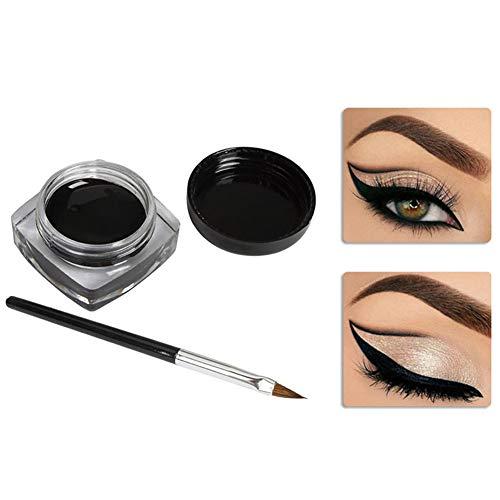 Hilai Eyeliner Etanche Gel Cosmetique Lasting Liner Gel Long Durable Eye-liner Crème Maquillage Gel Cosmétique avec Pinceau (Noir, 0.18 oz. / 5g)