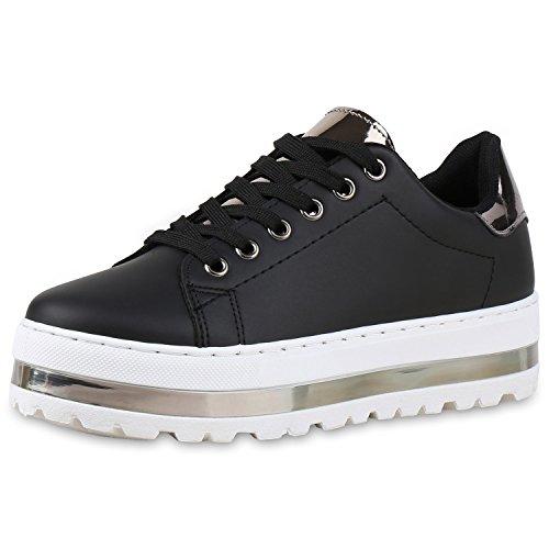 Damen Sneakers Plateau Keilabsatz Metallic Zipper Schuhe Schwarz Silber