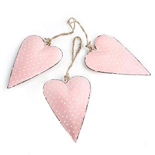 Logbuch-Verlag 3 x Herz 11 cm aus Metall rosa rot mit weißen Punkten mit Schnur zum Aufhängen Osterdeko Blech Anhänger Herzhänger Herzanhänger