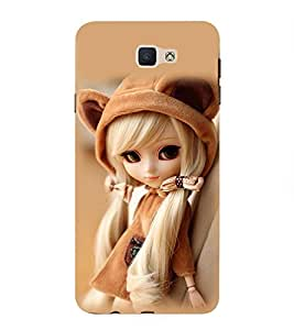 Takkloo Baby doll ( cute doll, white hair, beautiful eyed doll, brown cap, brown background) Printed Designer Back Case Cover for Samsung Galaxy On Nxt (2016)