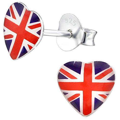 cker Vereinigtes Königreich 925 Sterling Silber Emaille 7 x 7 mm mehrfarbig bunt Ohrringe ()