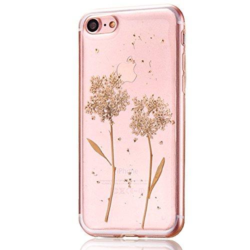 """iPhone 7 Schutzhülle, iPhone 7 Soft TPU Handytasche, CLTPY Modisch Durchsichtige Rückschale im Getrocknete Blumenart, [Stoßdämpfung] & [Kratzfeste] Full Body Case für 4.7"""" Apple iPhone 7 + 1 Stylus -  Floral 7"""