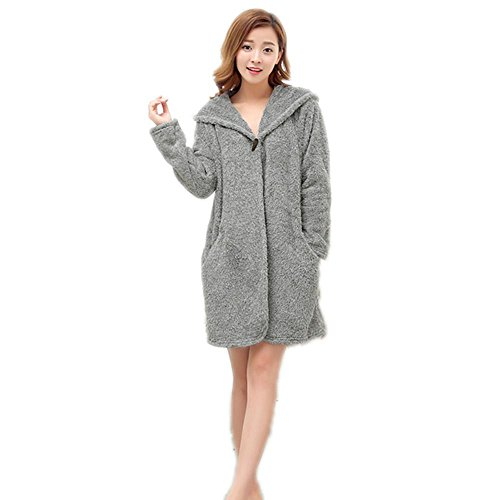 CHUNHUA Services à domicile Mesdames un bouton facile ouate-coral fleece pyjamas nuisettes , gray , average Gray