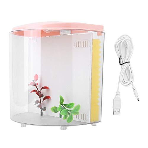 Pssopp Aquarium Fischbecken Desktop Aquarium USB Kleine Acryl Aquarium mit LED Beleuchtung und Schwämme Filter für Wohnzimmer Office Home Dekor(Pink)
