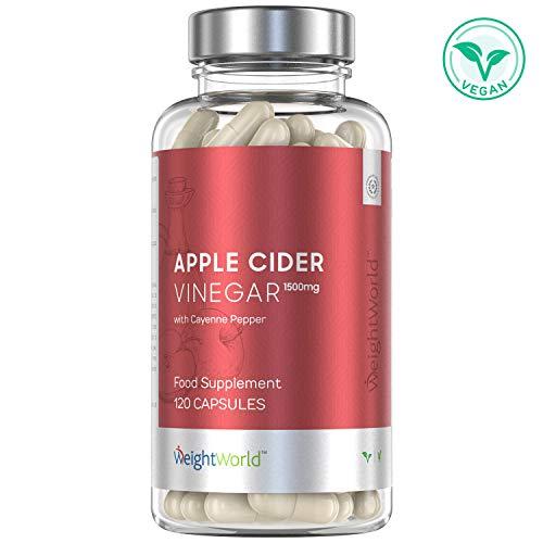 Apfelessig Kapseln | 1.500mg Apple Cider Vinegar hochdosiert | Für Abnehmen & Diät | Essig aus Apfel zum Fettverbrennung und Stoffwechsel anregen | Detox Kur für die Verdauung | 120 Kapseln vegan