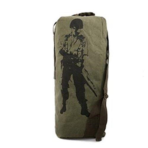 Dlflyb Canvas Outdoor Bergsteigen Tasche Canvas Reisetasche Rucksack Sporttasche Mit Hoher Kapazität Army green trumpet