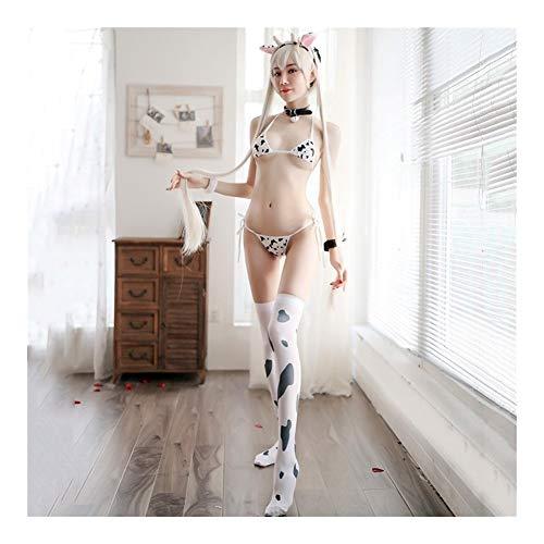 YUNGYE Frauen Sexy Kuh Cosplay Kostüm DREI Punkt Bikini Set Badeanzug Anime Mädchen Bademode Kleidung Lolita BH Und Panty Set Nachthemd (Color : B+Collar Bell, Size : One Size)