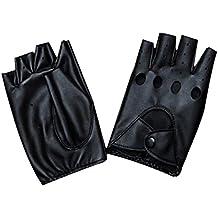 YAMALL Paire de Mitaines en cuir Mitaines Fingerless En Cuir Noir a5e8abd95a7