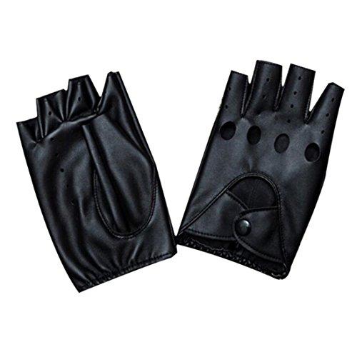 YAMALL Guantes de medio dedo de la moda guantes sin dedos de cuero de la PU negro 1 par para mujeres niñas