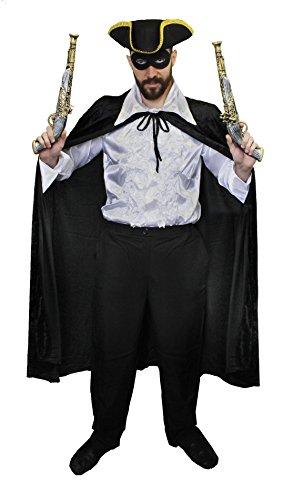 Die Drei Musketiere Kostüm D'artagnan (STRASSEN RÄUBER ODER BANDITEN KOSTÜM DER VERGANGNHEIT= VON ILOVEFANCYDRESS®=DIESE 6 TEILIGE VERKLEIDUNG BEEINHALTET = EIN SCHWARZES CAPE + EINE SCHWARZE AUGENMASKE + EINEN DREIECKIGEN HUT + 2 PLASTIKPISTOLEN + EIN)
