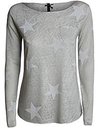Femme T-Shirt a manches longues WLS SIRIUS du Key Largo - couleur beige - avec motif étoiles - outdoor - nouveau modele 2017 - légère - casual style