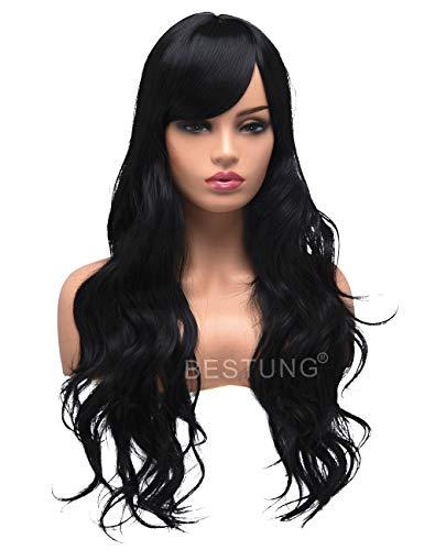 Für Kostüm Ponys - Lange lockige gewellte Perücken für Frauen Damen synthetische volles Haar natürliche schwarze Brünette Perücke mit Pony für Cosplay Kostüm oder Alltag (EINWEG)