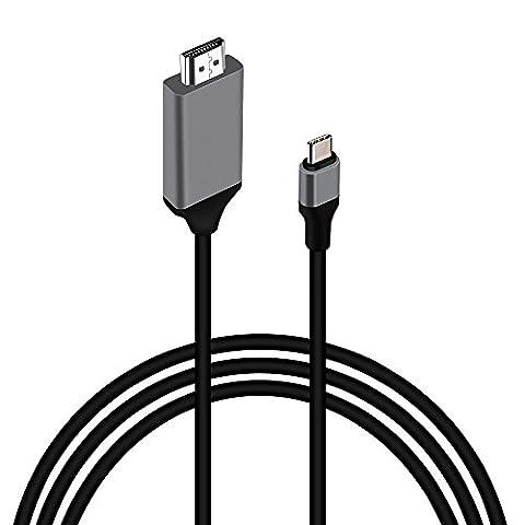 USB C zu HDMI Kabel, 6,6ft / 2.0m, MOREFINE USB 3.1 Typ C Stecker (Thunderbolt 3 kompatibel) zu HDMI Stecker Kabel für MacBook, ChromeBook Pixel, Samsung Galaxy S8 / S8 Plus, LG G5 / G6, etc (Best Tech-weihnachtsgeschenke 2016)