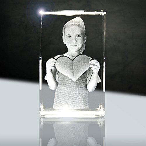 3D Glaskristall mit Foto | Quader 56mm | 1 Person oder Tier zB als Geschenk zur Taufe