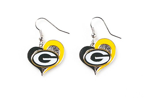 aminco Sports Team Green Bay Packers Logo 3/10,2cm Swirl Herz Baumeln Ohrring Set