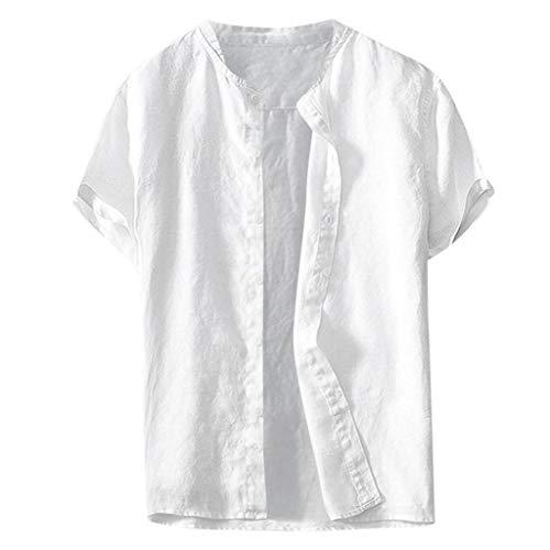 Logo Lange Ärmel Pocket (TWISFER Herren Leinenhemd Henley Freizeithemd Kurzarm Regular Fit Kragenloses Shirt Leinenhemd Henley Shirt Button-down Sommerhemd Herren Freizeithemden aus Leinen und Baumwolle)