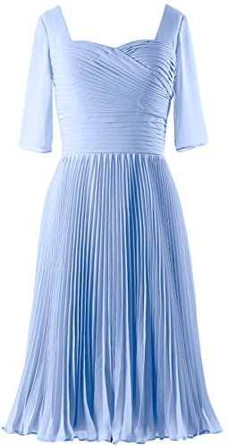 MACloth Women Half Sleeves Mother of Bride Dress Chiffon Cocktail Formal Gown Sky Blue