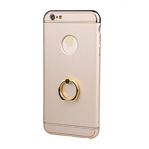 """xhorizon MSH 3 en 1 Coque pour iPhone 6 Plus/ iPhone 6S Plus [5.5""""]ultra-fin élégant Coque de Protection dur avec bague béquille 360 degré rotation avec 9H film de protection en verre trempé Or avec Film de protection en verre trempé 9H"""