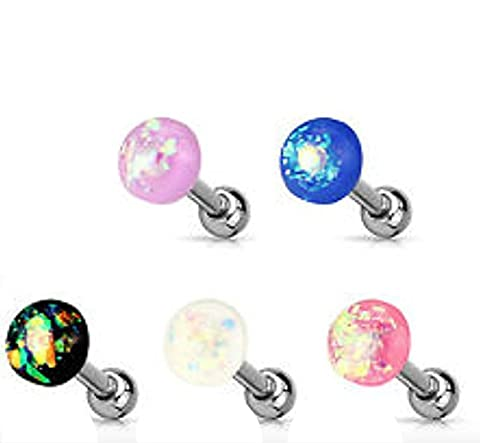 1 x Blue Opal Glitter Dome Topped Surgical Steel Cartilage Tragus Earring Bar 1.2mm Thickness 6mm Length