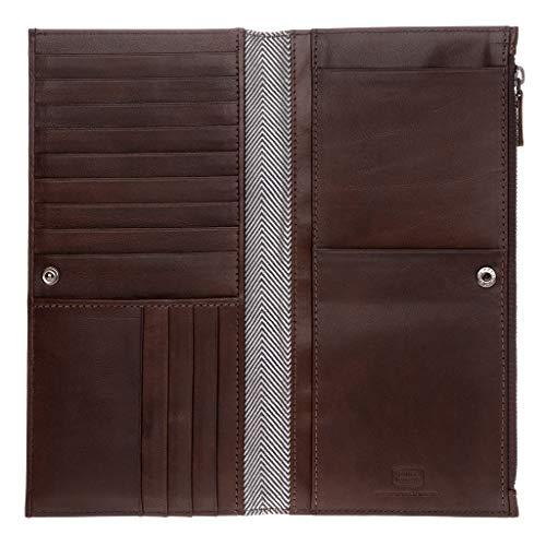 Antica Toscana Portefeuille pour Femme Très spacieux Long en Cuir Véritable avec Bouton Zip Porte-Cartes & Documents Châtaigne