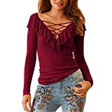 MORCHANFemmes Casual Deep V Automne Hiver Slim élégant Solid Sexy Garder au Chaud Tops Manches Longues T Shirt Tee...
