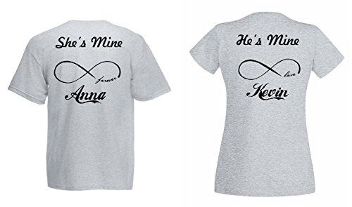 "TRVPPY Partner Herren + Damen T-Shirts ""HE IS MINE * SHE IS MINE"" mit WUNSCHNAMEN Grau"
