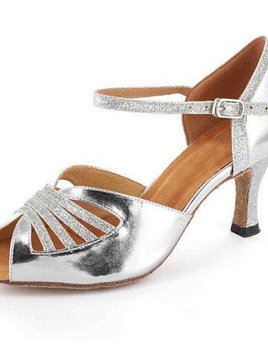 ShangYi Chaussures de danse(Rouge / Argent / Gris / Or) -Personnalisables-Talon Personnalisé-Similicuir-Latine Gold