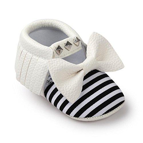 kingko® Moderne Baby Bowknot Streifen Baby Kleinkind SchuheBabyPrinzessin Soft Sohle Schuhe Kleinkind Turnschuhe Freizeitschuhe(Girl/Boys) Weiß