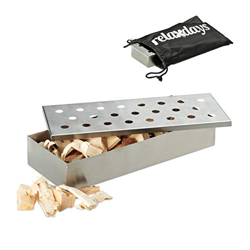 Relaxdays Smoker Räucherbox Edelstahl, Deluxe, rostfrei, mit Tragebeutel, Räucheraroma genießen, 22,5x9,5x4 cm, silber -