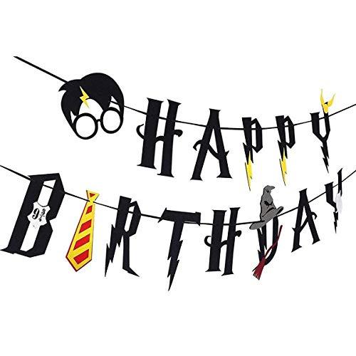 YTTX Happy Birthday Banner, inspiriert von Harry Potter Happy Birthday Dekorationen Supplies schwarz