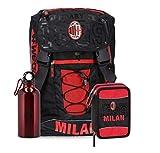 Schoolpack Zaino Scuola AC Milan Estensibile con Borraccia + Astuccio 3 Zip