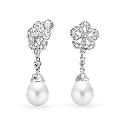 Bling Jewelry Suite Nuptiale Fleur Cz Perles simulées en plaqué rhodium Boucles d