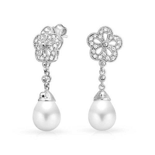 Bling Jewelry Tone Silver Flower Bridal CZ 10 millimetri bianco orecchini di (10 Millimetri Sintetico Perle)