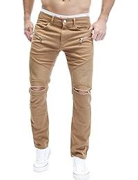 MERISH Chino Jeans Hose Herren Biker Style Slim Fit Destroyed Modell J67