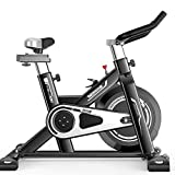 LOO LA Indoor-Bewegung Bike, Flywheel Smooth Cycling, Cardio Workout Spin Bike Studio Cycles Adjustable Lebars & Seat On Board,Black