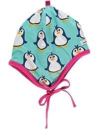 MAXOMORRA Mädchen Mütze Blau Pinguin Bändchen Helmet Penguin BioBaumwolle GOTS