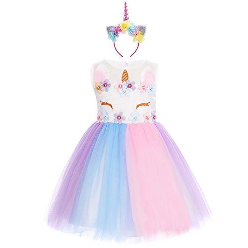 FYMNSI Kinder Baby Einhorn Kostüm Kleid Blumen Mädchen Prinzessin Tütü Kleid Geburtstag Partykleid Tüll Festkleid Sommerkleid Abendkleid Ballkleid Fasching Halloween Verkleidung mit Stirnband Outfit