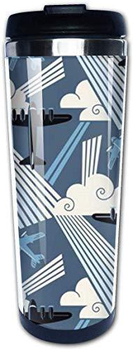 EJUNLEKEJI Kaffeebecher Art Deco Modern Aviation 14oz Insulated Stainless Steel Travel Camping Mug for Beer Cocktails Coffee Tea with Splash-Proof Lid for Men Women Fun Gift